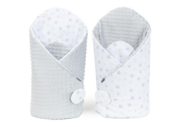 Mamo Tato Oboustranná zavinovačka Minky Baby - Stars šedé na bílém/šedá