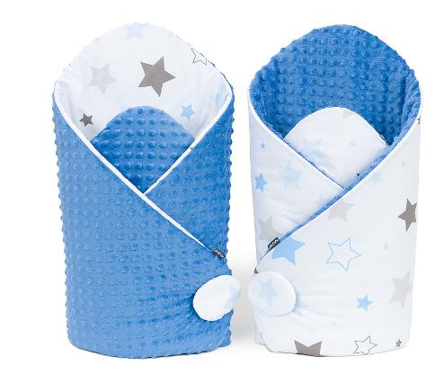 Oboustranná zavinovačka Minky Baby - Big Stars šedé, modré/jeans