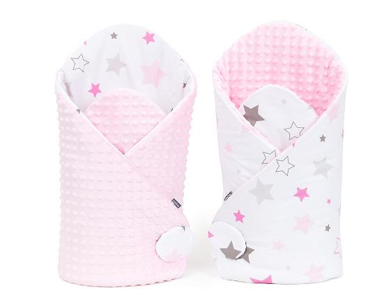 Oboustranná zavinovačka Minky Baby - Big Stars šedé, růžové/růžová