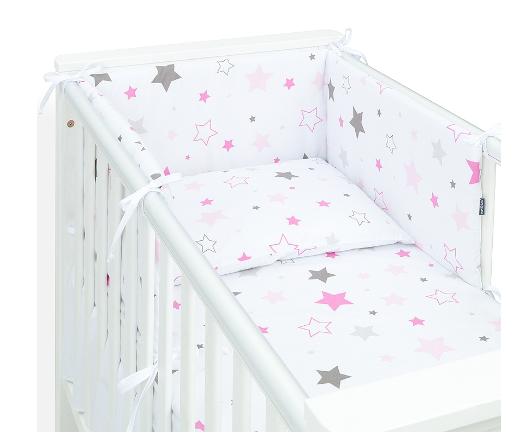 Mamo Tato 3-dílný set do postýlky s mantinelem - Big Stars růžové, 135 x 100 cm