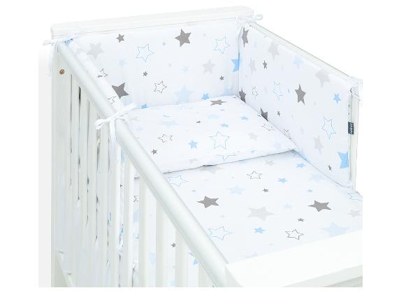 Mamo Tato 3-dílný set do postýlky s mantinelem - Big Stars modré, 135 x 100 cm