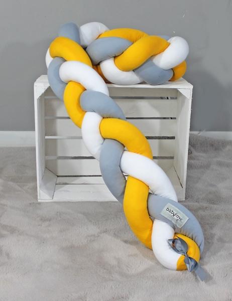 Mantinel Baby Nellys pletený cop - žlutá, šedá,bílá