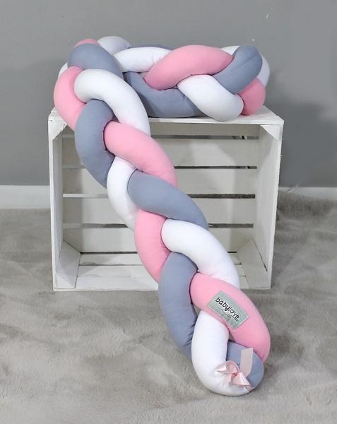 Mantinel Baby Nellys pletený cop - šedá,růžová,bílá