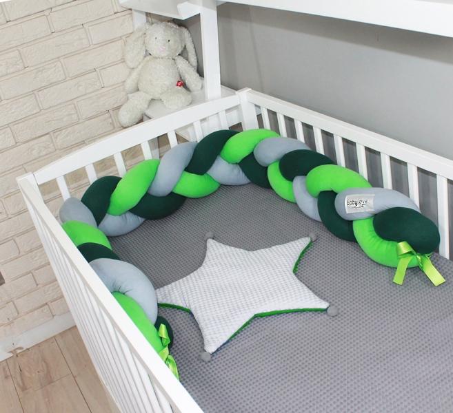 Mantinel Baby Nellys pletený cop - tm. zelená, zelená, šedá