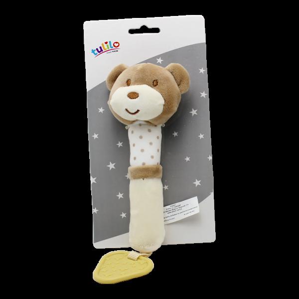 Plyšová hračka Tulilo s pískátkem Medvídek, 17 cm - sv. hnědý