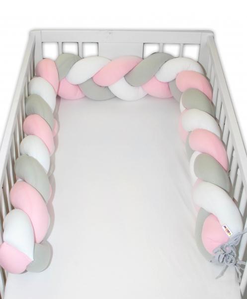 Mantinel Baby Nellys pletený cop - růžová, bílá, šedá