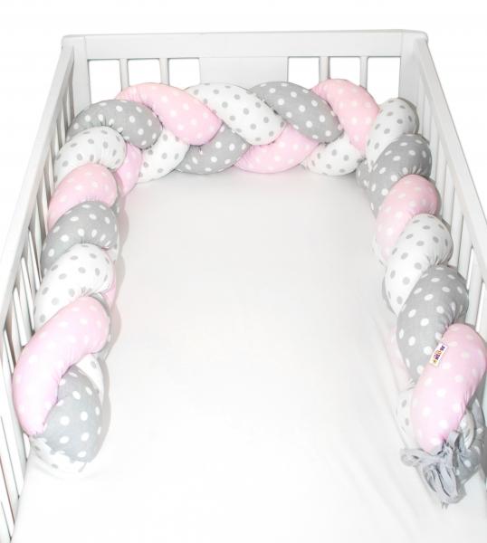 Mantinel Baby Nellys pletený cop Bubble - růžová, bílá, šedá