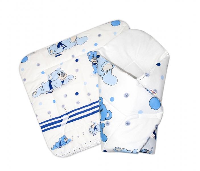 Novorozenecká zavinovačka, 75x75cm - Medvědí na louce - modré