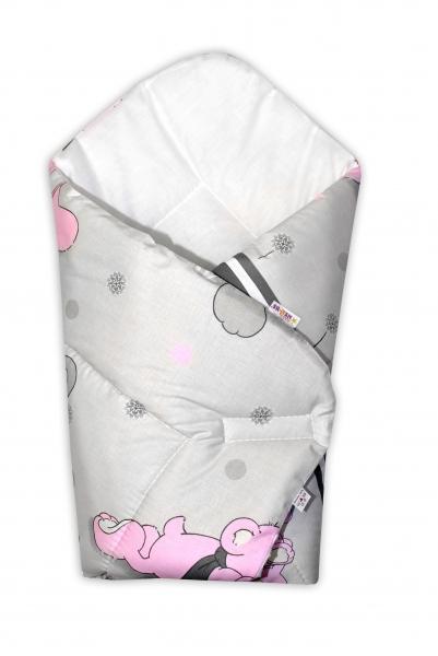 Novorozenecká zavinovačka, 75x75cm - Medvědí na louce - růžové v šedé