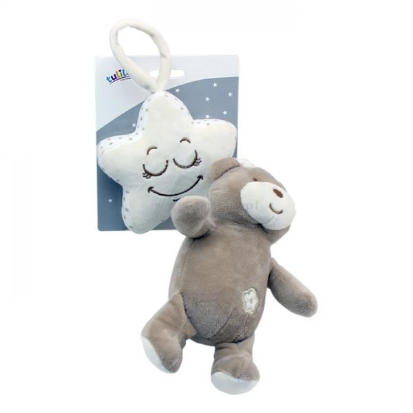 Závěsná plyšová hračka Tulilo s melodií Medvídek, 35 cm - sv. hnědý