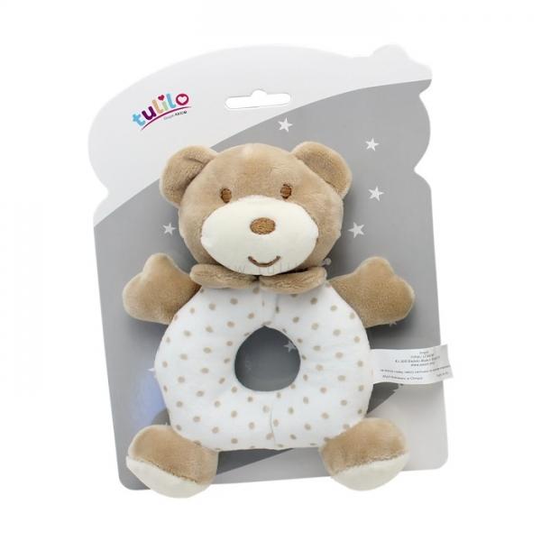 Plyšová hračka Tulilo s chrastítkem Medvídek, 17 cm - sv. hnědý