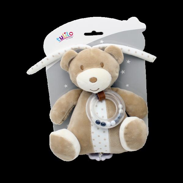 Závěsná plyšová hračka Tulilo s melodií a chrastítkem Medvídek, 18 cm - sv. hnědý, K19
