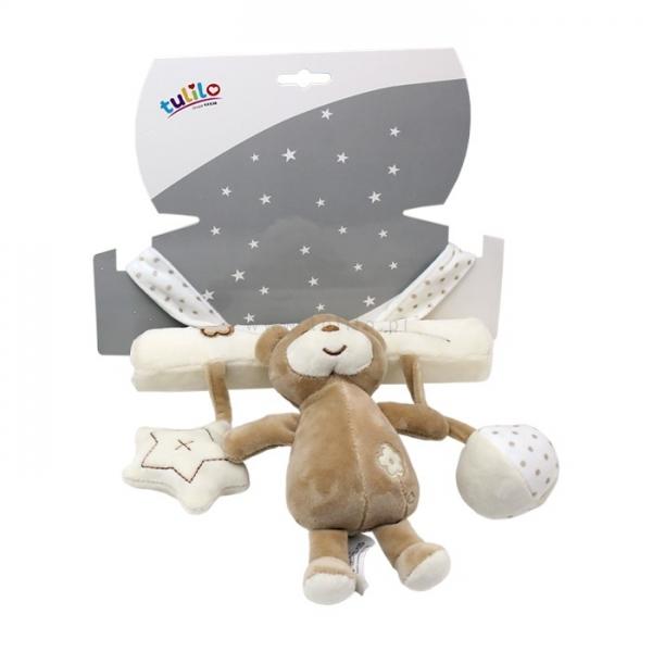 Závěsná plyšová hračka Tulilo s chrastítkem Medvídek, 22 cm - sv. hnědý