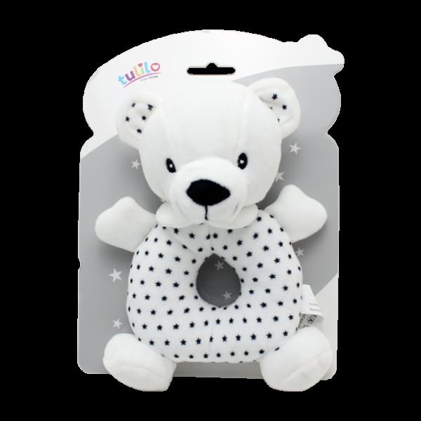 Plyšová hračka Tulilo s chrastítkem Medvídek, 18 cm - black&white, K19