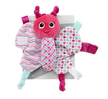 Závěsná plyšová hračka Tulilo s šustícími křídly Motýlek, 15 cm - růžová, K19