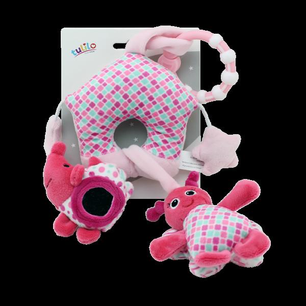 Závěsná plyš. hračka Tulilo s chrastítkem, zrcátkem a pískátkem Motýlek, 38cm růžová, K19