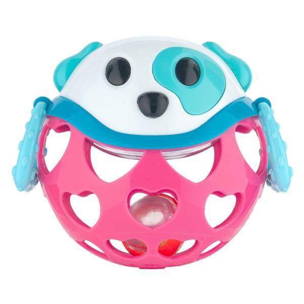 Interaktivní hračka Canpol Babies, míček s chrastítkem - Pejsek růžový