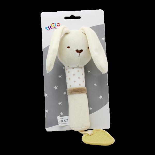 Plyšová hračka Tulilo s pískátkem Králíček, 17 cm - smetanový