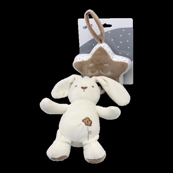 Závěsná plyšová hračka Tulilo s melodií Králíček, 35 cm - smetanový