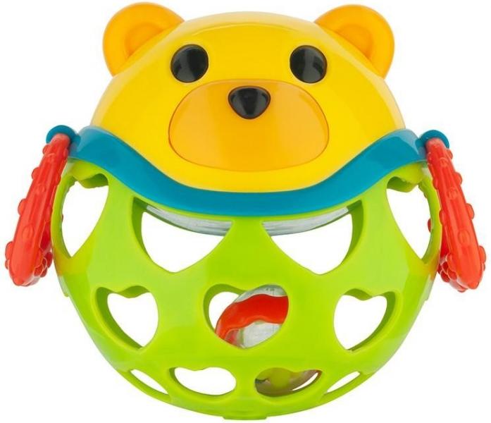 Interaktivní hračka Canpol Babies, míček s chrastítkem - Medvídek - zelený