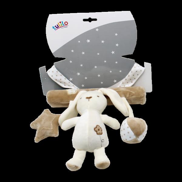 Závěsná plyšová hračka Tulilo s chrastítkem Králíček, 22 cm - smetanový, K19