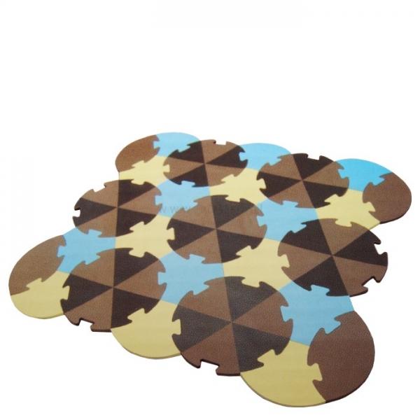Dětská hrací podložka puzzle, 27 ks - Trojúhelníky - hnědé