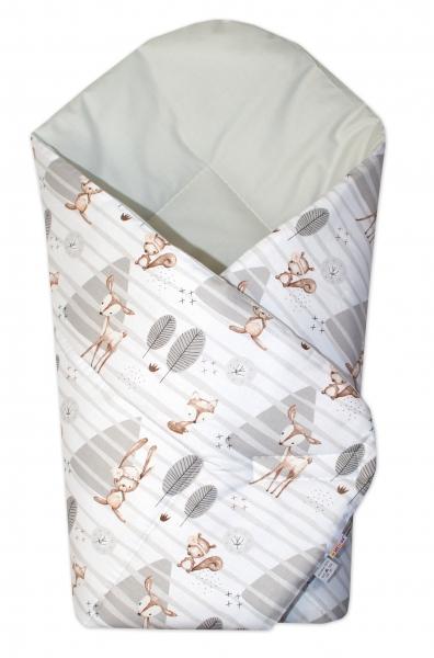 Baby Nellys  Novorozenecká zavinovačka Baby Nellys, Zvířátka v lese, šedá