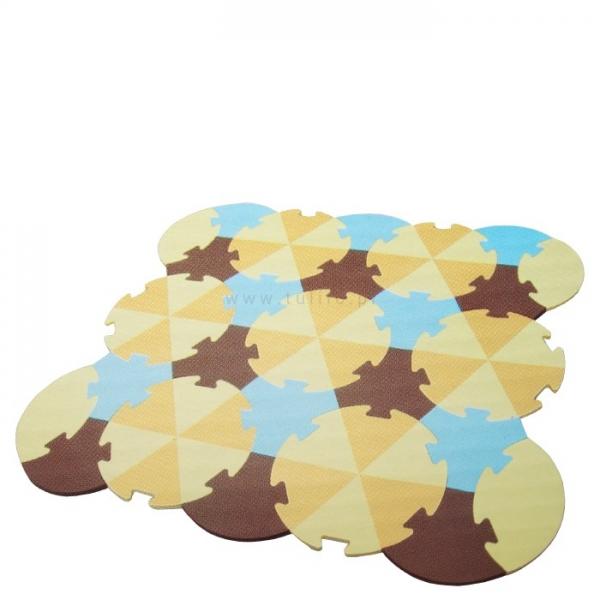 Tulilo Dětská hrací podložka puzzle, 27 ks - Trojúhelníky - béžové, K19