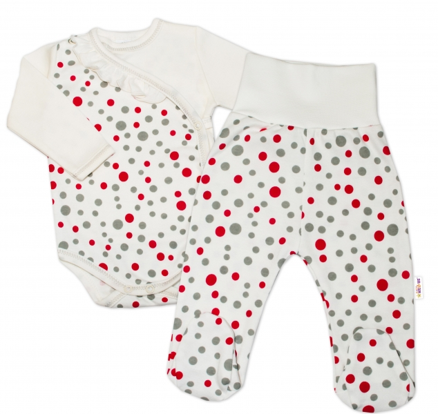 2-dílná kojenecká sada Baby Nellys - Puntíky - smetanová, vel. 62vel. 62 (2-3m)