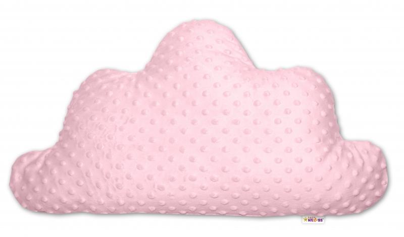 Baby Nellys Dětský dekorační polštář Mráček - minky růžový