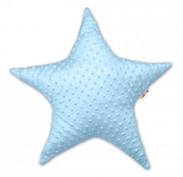 Baby Nellys Dětský dekorační polštář, Hvězdička - minky modrý