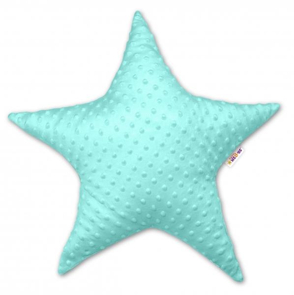 Baby Nellys Dětský dekorační polštář, Hvězdička - minky mátová