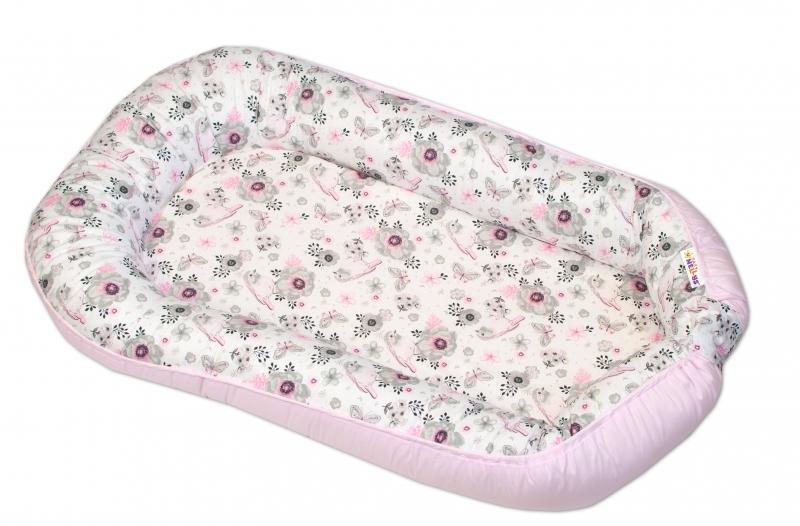 Oboustranné maxi hnízdečko Baby Nellys, 70x93 cm, Ptáčci - růžové
