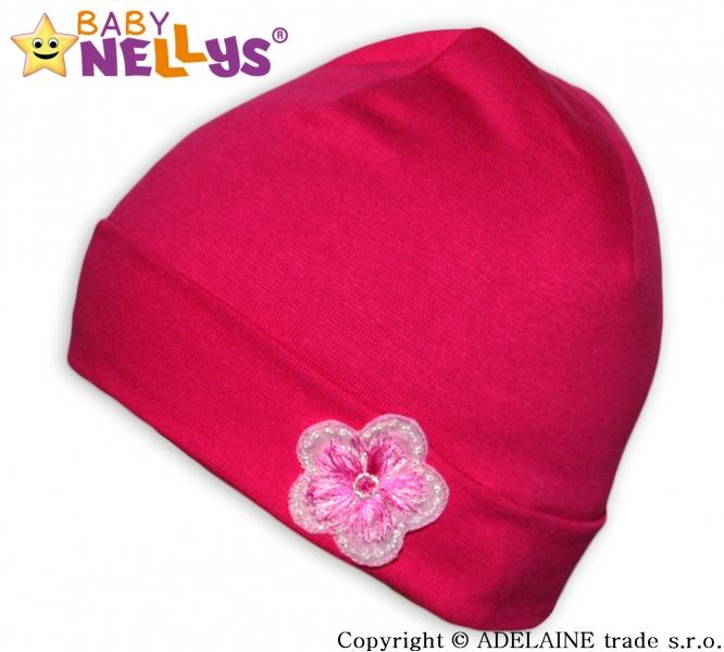 Bavlněná čepička Baby Nellys ® - Růžová s kytičkou