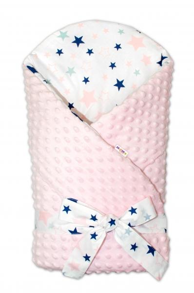 Zavinovačka Minky Baby Nellys Hvězdy a hvězdičky - růžová/granát na bílém, sv. růžová