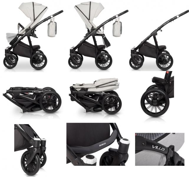 Dětský kočárek 2v1, Riko 2019 - Villa - carbon
