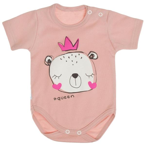 Bavlněné body MBaby, krátký rukáv, pudrově růžové - Princezna