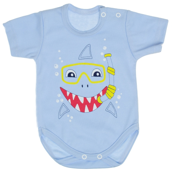 Bavlněné body MBaby, krátký rukáv, sv. modré - Žralok, vel. 62