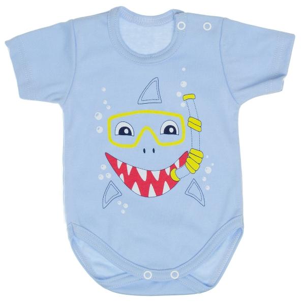 Bavlněné body MBaby, krátký rukáv, sv. modré - Žralok, vel. 80