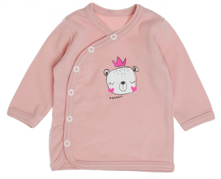 Bavlněná košilka MBaby, dl. rukáv, zapínání bokem - Princezna, pudrově růžová, roz. 62