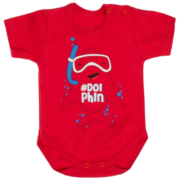 Bavlněné body MBaby, krátký rukáv, červené - Potápěč