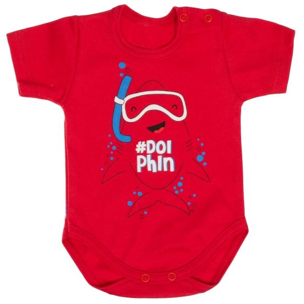 Bavlněné body MBaby, krátký rukáv, červené - Potápěč, vel. 80
