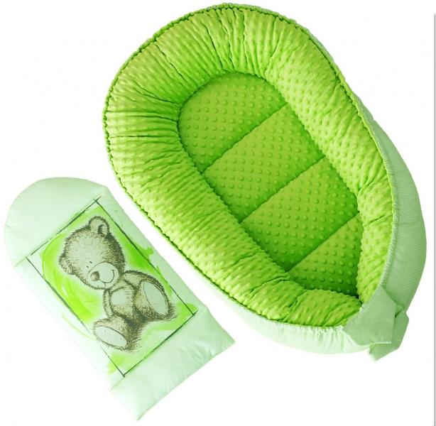Oboustranné hnízdečko, kokon Baby Nellys Teddy Minky 80x45x15cm - zelené