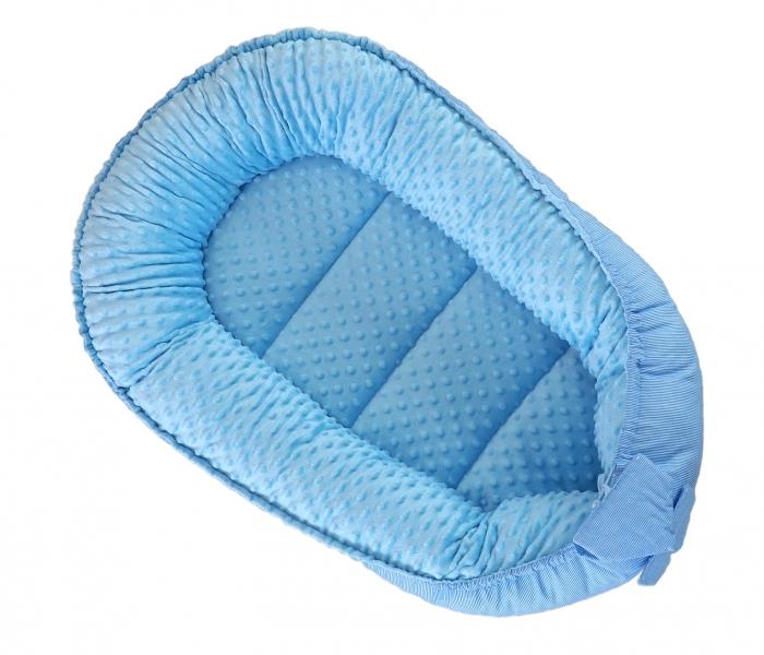 Oboustranné hnízdečko, kokon Baby Nellys Teddy Minky 80x45x15cm - modré