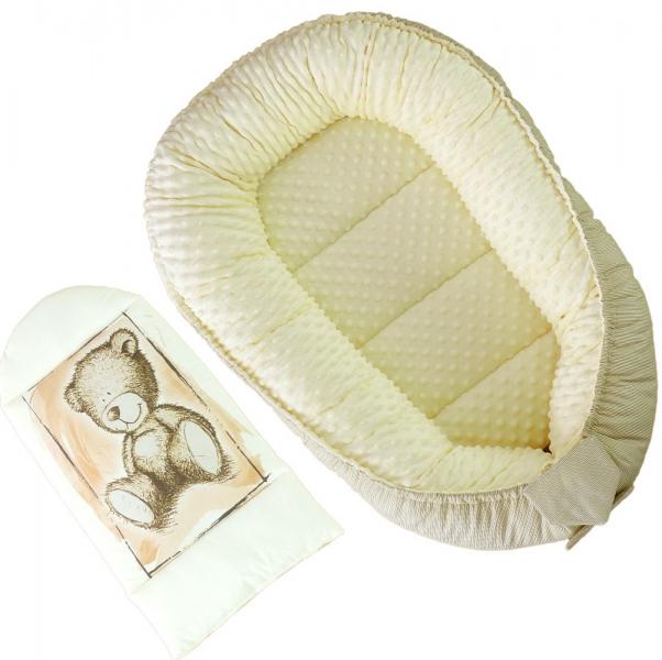 Oboustranné hnízdečko, kokon Baby Nellys Teddy Minky 80x45x15cm - pískové