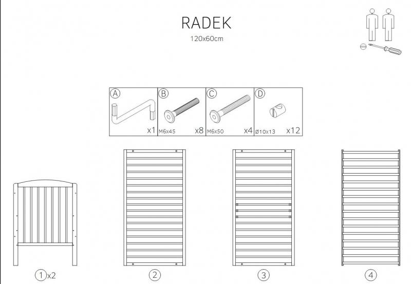 Klups Postýlka RADEK X, 120x60 cm, šedý