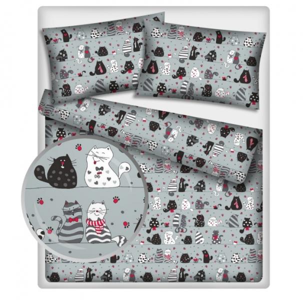 Baby Nellys 2 dílné bavlněné povlečení 140 x 200/70x90 - kočky - šedé