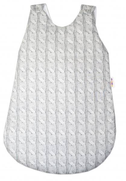 Bavlněný spací vak Baby Nellys, Pletený cop, 70 cm - šedý