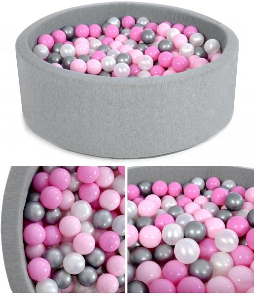 NELLYS Bazén velký pro děti 80x30cm + 200 balónků - pinky winky