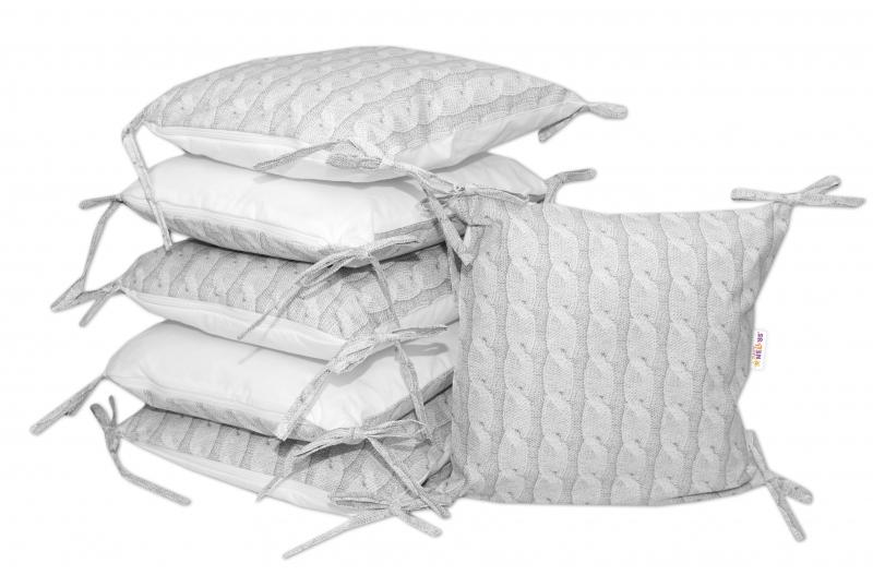 Bavlněný polštářkový mantinel Baby Nellys, Pletený cop - šedý